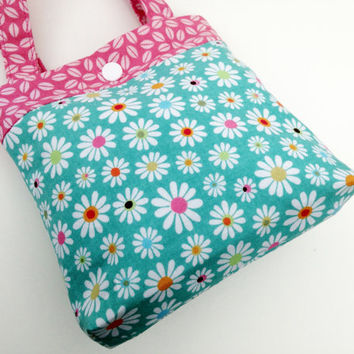 Toddler tote little girl purse daisies tote flower tote daisy purse little girl birthday gift toddler gift tot tote water resistant lining