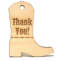 Wooden Country Rustic Cowboy Boot Wedding Favor Gift Tags, Thank You Card, Wedding Party Laser Engraved Favors
