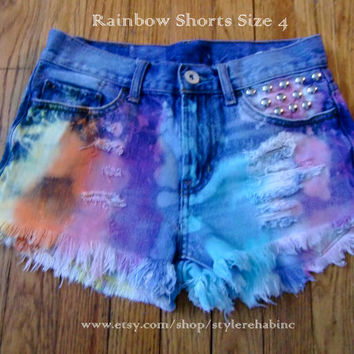 Rainbow with Blue denim Jean Shorts, destroyed, studded Beautiful for Summer Beach Tan Tumblr Fashion trends Small Size now
