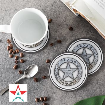 Texas Ranger badge Round Coasters (Set of 4 coasters)