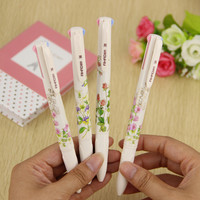 1pcs 4 In 1 Colored Ballpoint Pen Floral Pens Kawaii Stationery Canetas Material Escolar Office School Supplies