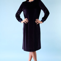 SALE Vintage Dark Navy Blue Velour Shift Dress s m 1960s