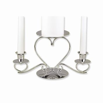 Silver-plated Triple Heart Candle Holder - Perfect Wedding Gift