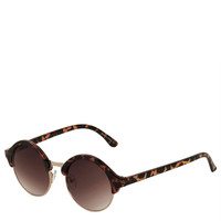 Round Brow Detail Sunglasses