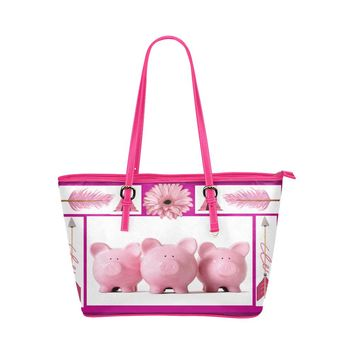 Three Little Pigs Large Leather Tote Bag