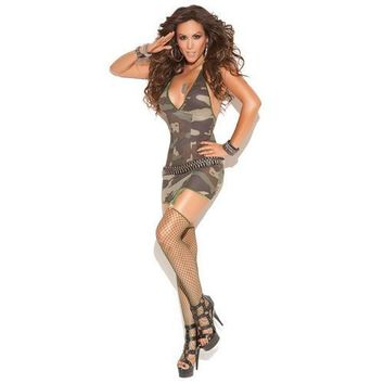 Vivace Mini Dress w/Garters, Diamond Net Stockings Camouflage O/S