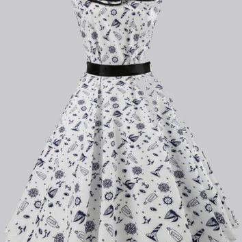 White Floral Cascading Ruffle Pleated Sashes Tutu Vintage Midi Dress