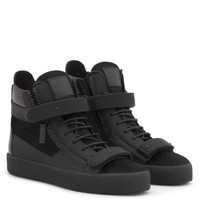 Giuseppe Zanotti Gz Coby Black Calf Hair High-top Sneaker