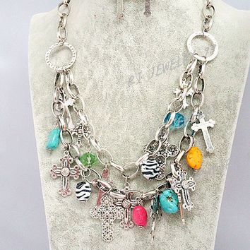 2 Layers Bib Steampunk Statement Necklace Set,Silver Chunky Chain Necklace, Cross Earrings,Personalized  Party Jewelries, SN1326