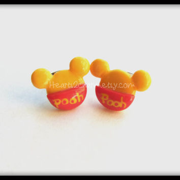 Disney's  Winnie the Pooh Stud earrings. Handmade Winnie the Pooh Bear polymer clay stud earrings.