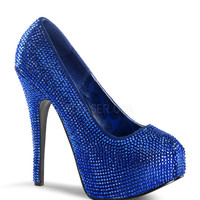 Bordello Royal Blue Satin Rhinestone Slip On Platform Pumps