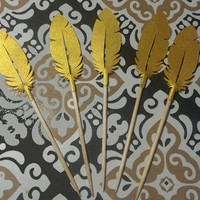 12 Metallic Gold Feather Cupcake Toppers, Hors d'oeuvre Picks, for Parties