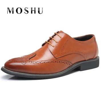 Genuine Leather Men Loafers Summer Men Brogue Lace Up Casual Shoes Breathbale  Chaussure Homme Size 38-47