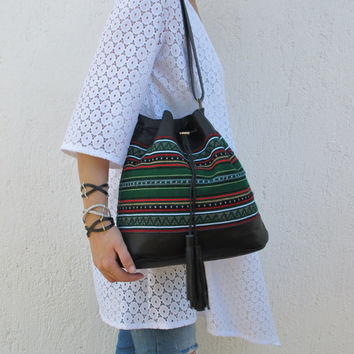 Boho shoulder bag handmade of black leather and traditional woven fabric in green Crete-SB 03B NEW
