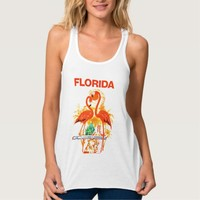 Vintage Florida travel poster flamingos design Tank Top