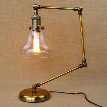 Retro Golden Coffee Shop Table Lamp Glass Shade Vintage Desk Lamp Dimmable 40W Edison Bulb Bedroom Bar Table Light Desk Light