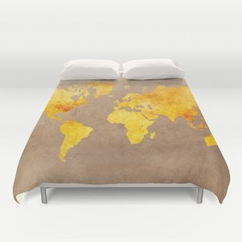 World map 3 gold Duvet Cover by jbjart
