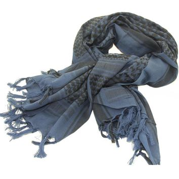 Blue Color 100% Cotton Arab Keffiyeh Shemagh Scarf Military Tactical Scarves Thickened Hijab Square Windproof Bandanas