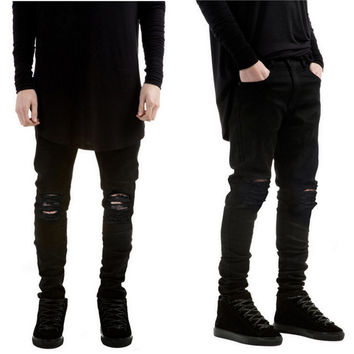 New Black Ripped Jeans Men With Holes Denim Super Skinny Famous Designer Brand Slim Fit Jean Pants Scratched Biker Jeans