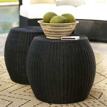 Palmetto All-Weather Wicker Accent Table - Black