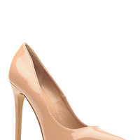 Nude Faux Patent Leather Pointy Toe Classic Pumps