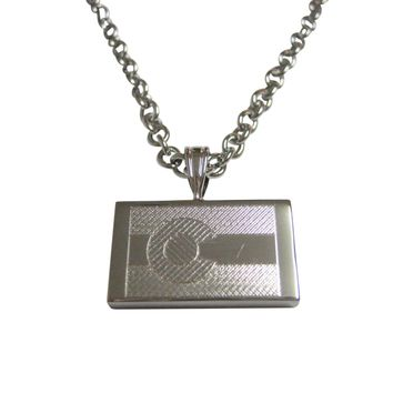 Silver Toned Etched Colorado State Flag Pendant Necklace