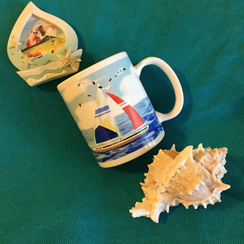 Sailboat Mug Vintage Ceramic Sailing Beach Ocean Theme Cup Summer Drink Holder With Seagulls and Sailboats Red White Blue Nautical Design