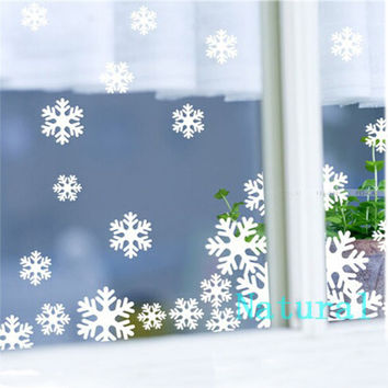 White and Blue Plastic Christmas Snowflake Sheet Ornament Merry Xmas Wall Window Sticker Paper-Cutting Free Shipping