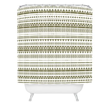 Allyson Johnson Green Aztec Shower Curtain