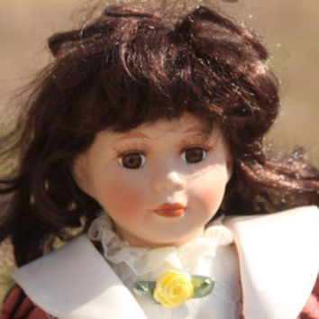 Classic Treasures 	Fine Bisque Porcelain Doll Brown Hair and Eyes with Stand