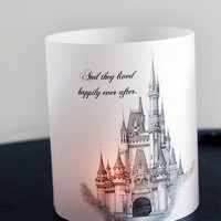 Fairytale Wedding Luminary, Cinderella Luminary, Castle, Happily Ever After, Wedding Centerpieces, Wedding decor, fairytale themed set of 10
