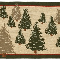 Frosted Trees 3' X 5' Hooked Wool Rug