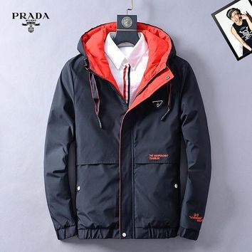 Prada Fashion Casual Quilted Cardigan Jacket Coat Hoodie