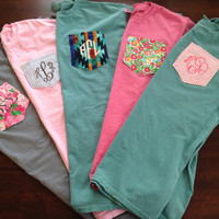Monogrammed Comfort Colors Custom Pocket Tee by ShirtsByAbby