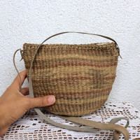 Small Woven Basket With Leather Strap, Straw Purse, Eco Friendly Raffia Bag, Sisal Shoulder Bag, Tribal Handbag, Aztec Print Wicker Bag
