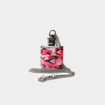 Flask Necklace 1oz pink camo-  Hidden flask - Looks like normal necklace when flask is hidden