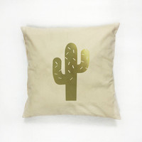 Gold Cactus Pillow, Cactus Pillow, Home Decor, Cushion Cover, Throw Pillow, Bedroom Decor, Modern Pillow, Bed Pillow, Gold Pillow, Botanical