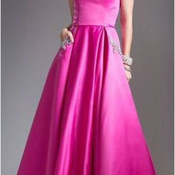 Strapless Prom Ball Gown Embellished Pockets Fuchsia