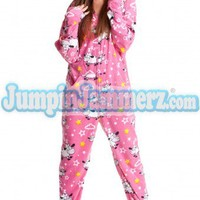 Sleepy Sheep  - Polar Fleece Pajamas - Pajamas Footie PJs Onesuits One Piece Adult Pajamas - JumpinJammerz.com