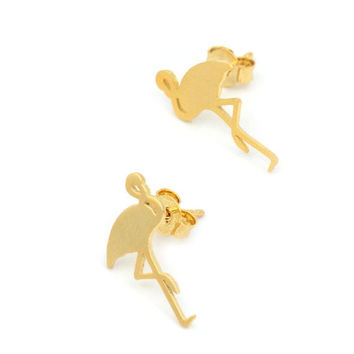 2016 New Fashion Cute Animal Flamingo Stud Earrings for Women Gold Metal Women Party Earrings Wedding Gifts E091