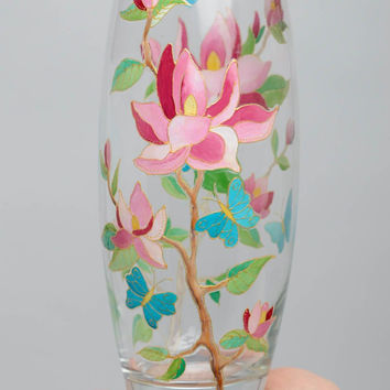Stained handmade glass painted flower vase unusual gifts ideas for home