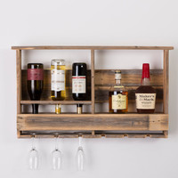 Gentlewomanly Barnwood Bar and Wine Glass Rack - FREE US SHIPPING