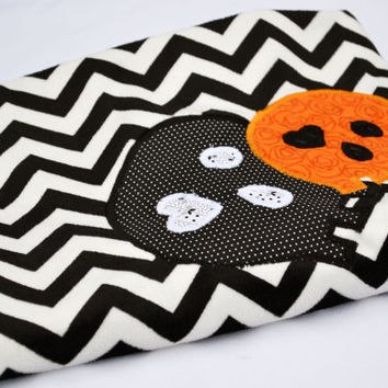 Gothic chevron skulls minky dot baby blanket, quilted toddler blanket, travel blanket, baby blanket, quilt in black and white