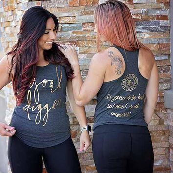 Goal Digger Charcoal Grey Tank Top