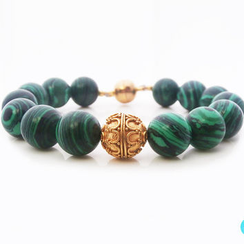 Green Malachite and 22 Carat Gold Vermeil Bracelet, Green Malachite and Gold Vermeil Bali Granulation Bead Bracelet, Malachite Bracelet