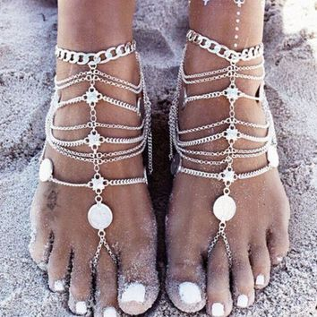 ONETOW Bohemian punk retro wind metal heavy industry, multi-layer chain tassel coin anklet