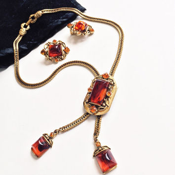 Vintage Selro Necklace and Earring Set 1950's Bolo Faux Tortoise Shell Rhinestone Chain Clip Ons Lucite
