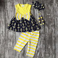 baby girls Summer spring clothing girls anchor outfits girls boutique summer yellow stripe capri outfits with accessories