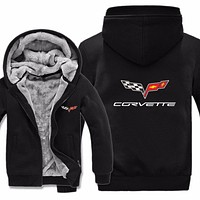 chevrolet corvette Hoodies Jacket Winter Men Casual Wool Liner Fleece chevrolet corvette Sweatshirts Hoody