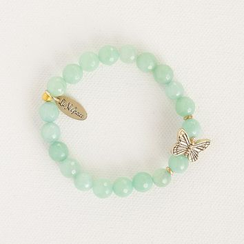 Liv•N•Grace  Amazonite  Beads  with  White  Gold  Butterfly  Bracelet  From  Natural  Life
